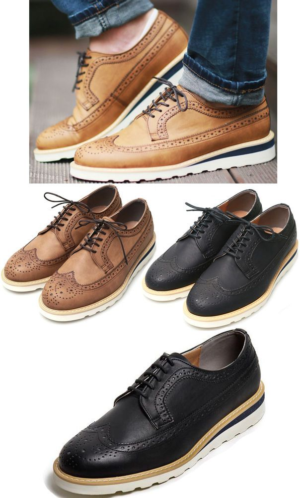 GREGO New Men's Casual Wingtip Shoes Lace-up Fashion Oxford GREGO 642 in  Korea. Men's ShoesFlat ShoesDress ...