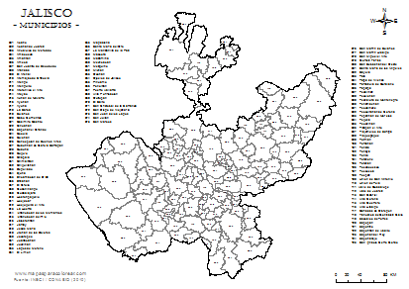 Mapa De Municipios De Jalisco En 2019 Jalisco Mapas Y