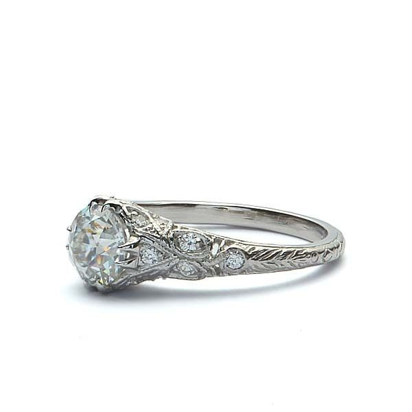 Replica Art Deco Engagement Ring #1140-57,  #Art #Artdecoengagementringplatinum #Deco #Engagement #Replica #Ring