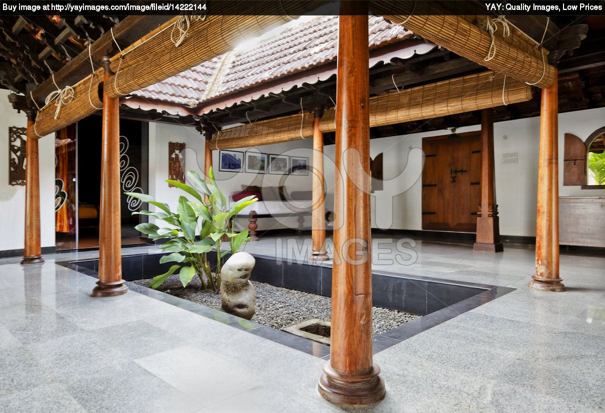 Beautiful courtyard of a traditional indian home for Traditional house designs in tamilnadu