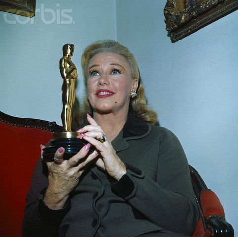 "Ginger Rogers holding the Oscar she won as Best Actress of 1940 in ""Kitty Foyle""."