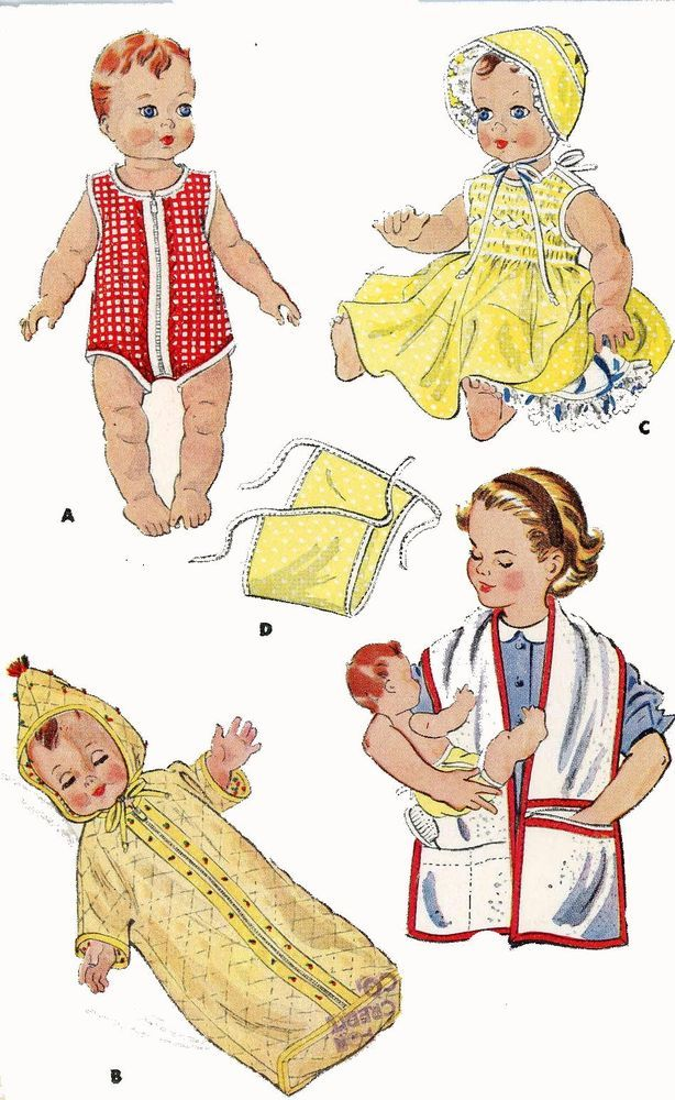 """Doll Clothes Pattern 1900 for 13/"""" Tiny Tears by Ideal a Ding Dong School pattern"""