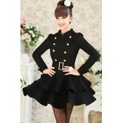 $31.99 Fashion Mandarin Collar Double-breasted Long Sleeves Black Ball Gown Mini Dress