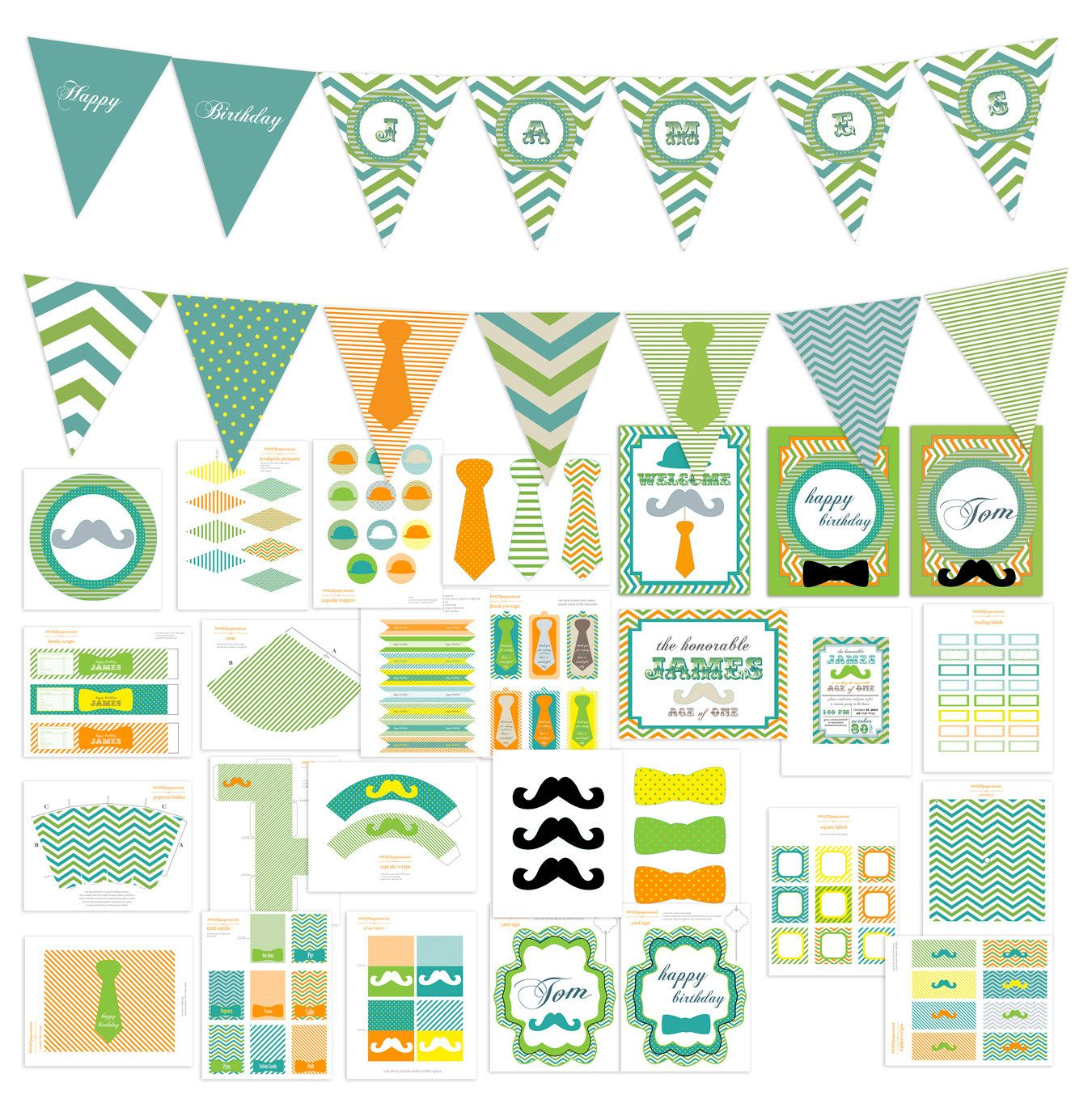 Very Large Little Man Chevron Boy Mustache Birthday Party Pack Set  Package  - Digital Printable - customized. $40.00, via Etsy.