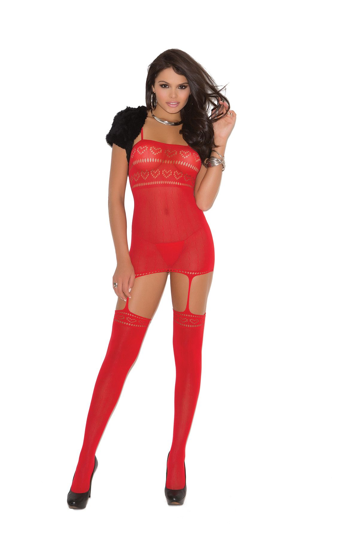 f045d8f2b5 Opaque suspender bodystocking with cut out heart detail. Open crotch ...