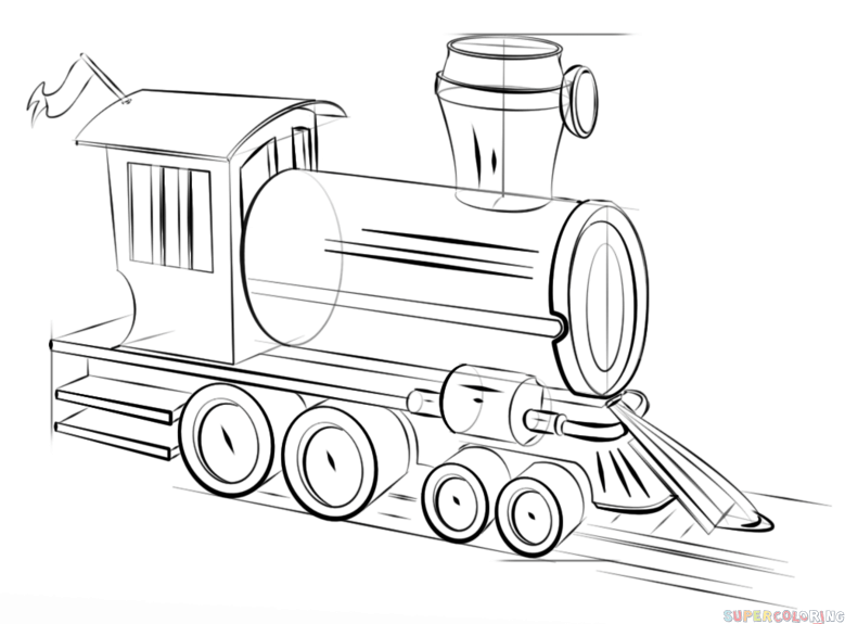 how to draw a steam train step by step  drawing tutorials