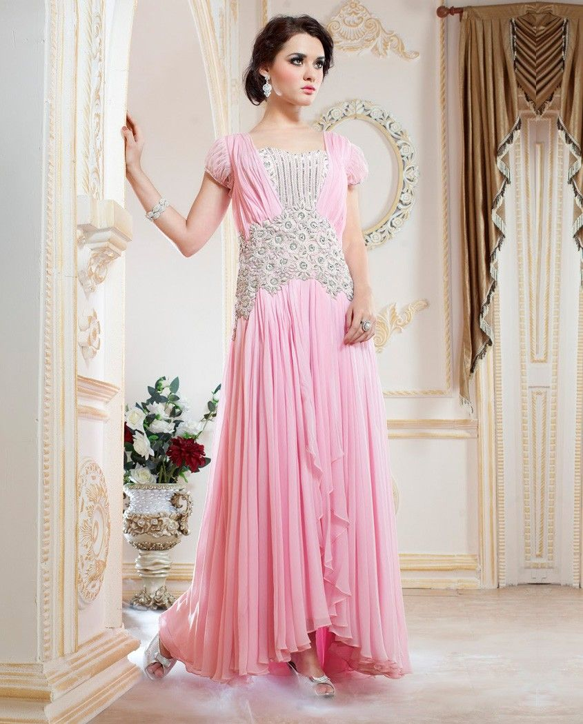 Light pink flared gown with embroidery at waistband 1. Light pink ...