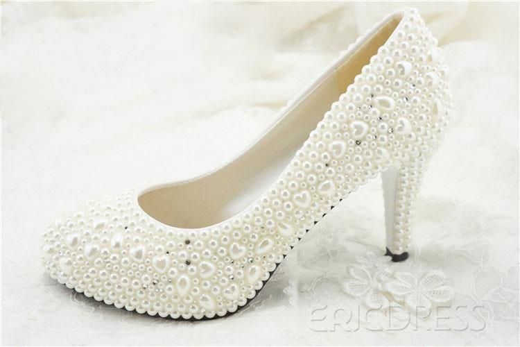 e8e6b9b9d Unique Closed Toe Handwork Pearl Stiletto Heel Wedding Shoes Wedding Shoes-  ericdress.com 10898808