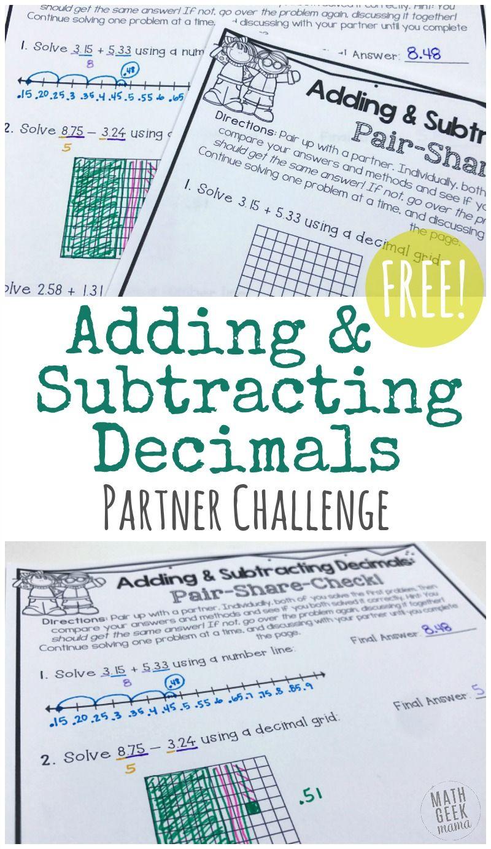 Free Adding Subtracting Decimals Partner Activity Subtracting Decimals Decimals Adding And Subtracting Adding and subtracting decimals game pdf