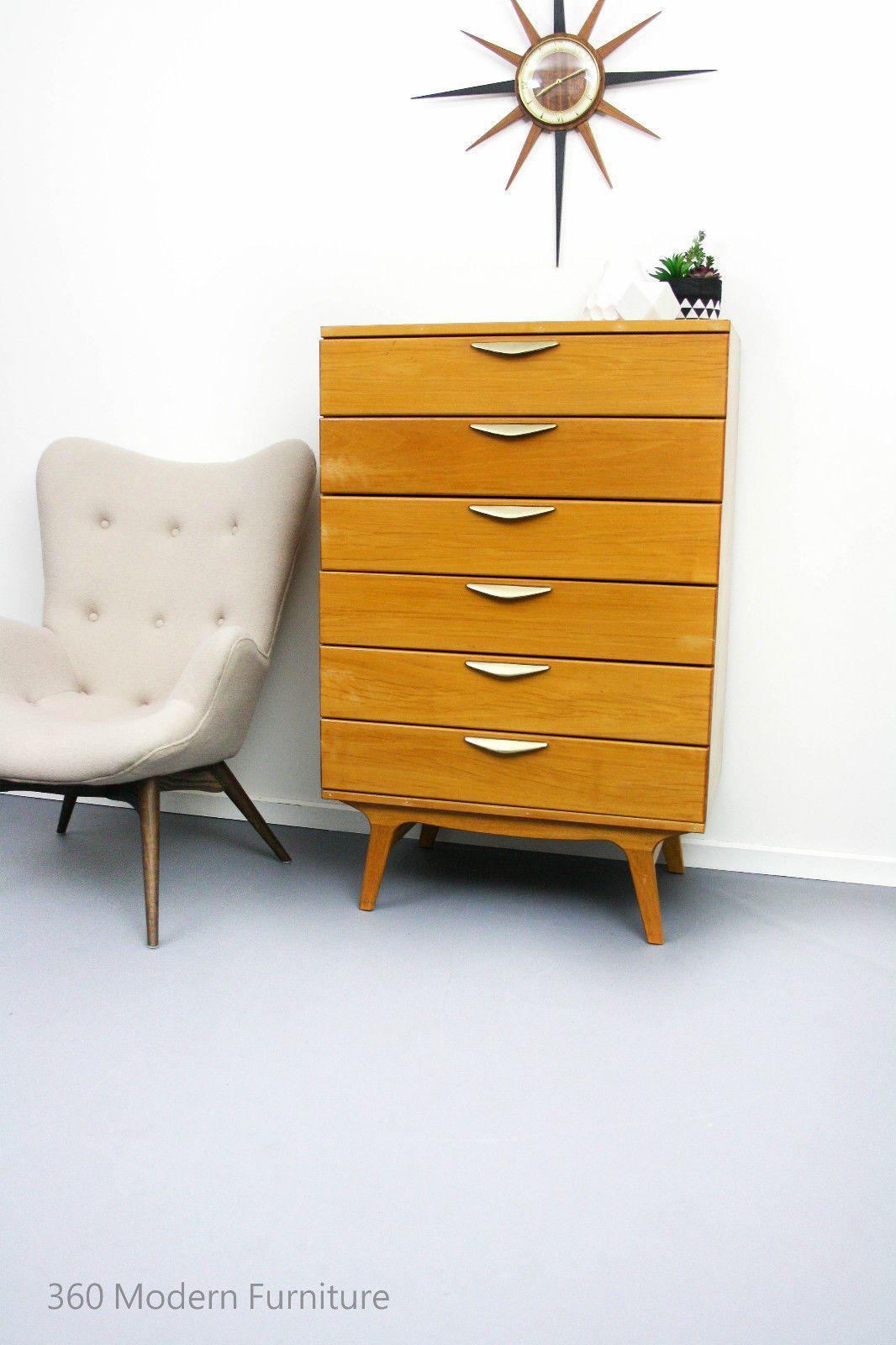 Mid Century Eastgate Industrial Sideboard Drawers Tallboy Retro Vintage Danish Scandi era | 360 Modern Furniture