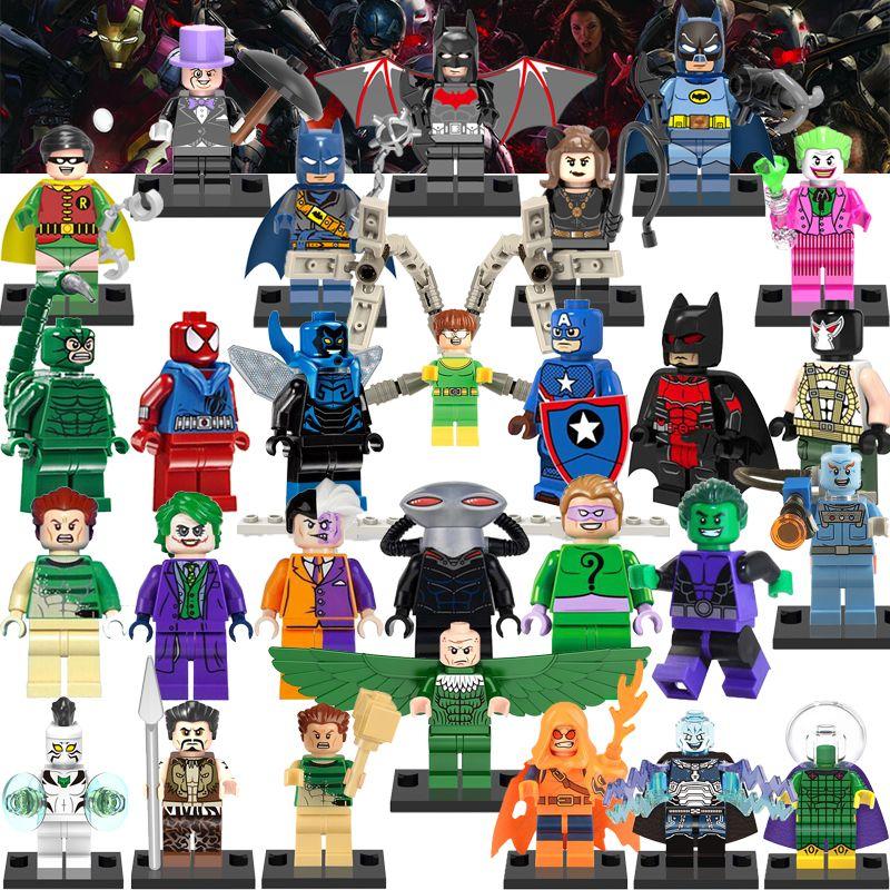 1 개 빌딩 블록 슈퍼 히어로 배트맨 조커 악당 kraven 헌터 어벤저 diy 피규어 조립 블록 아이 장난감 피규어