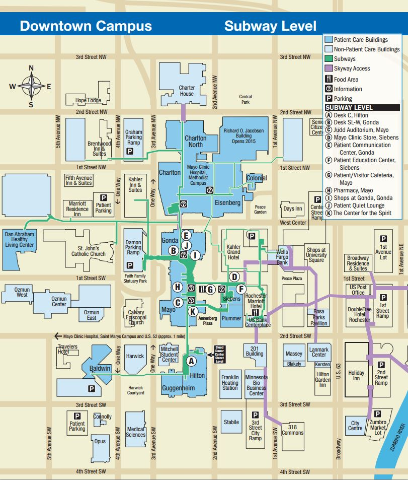 Mayo Clinic Downtown Rochester, MN Campus Map Subway