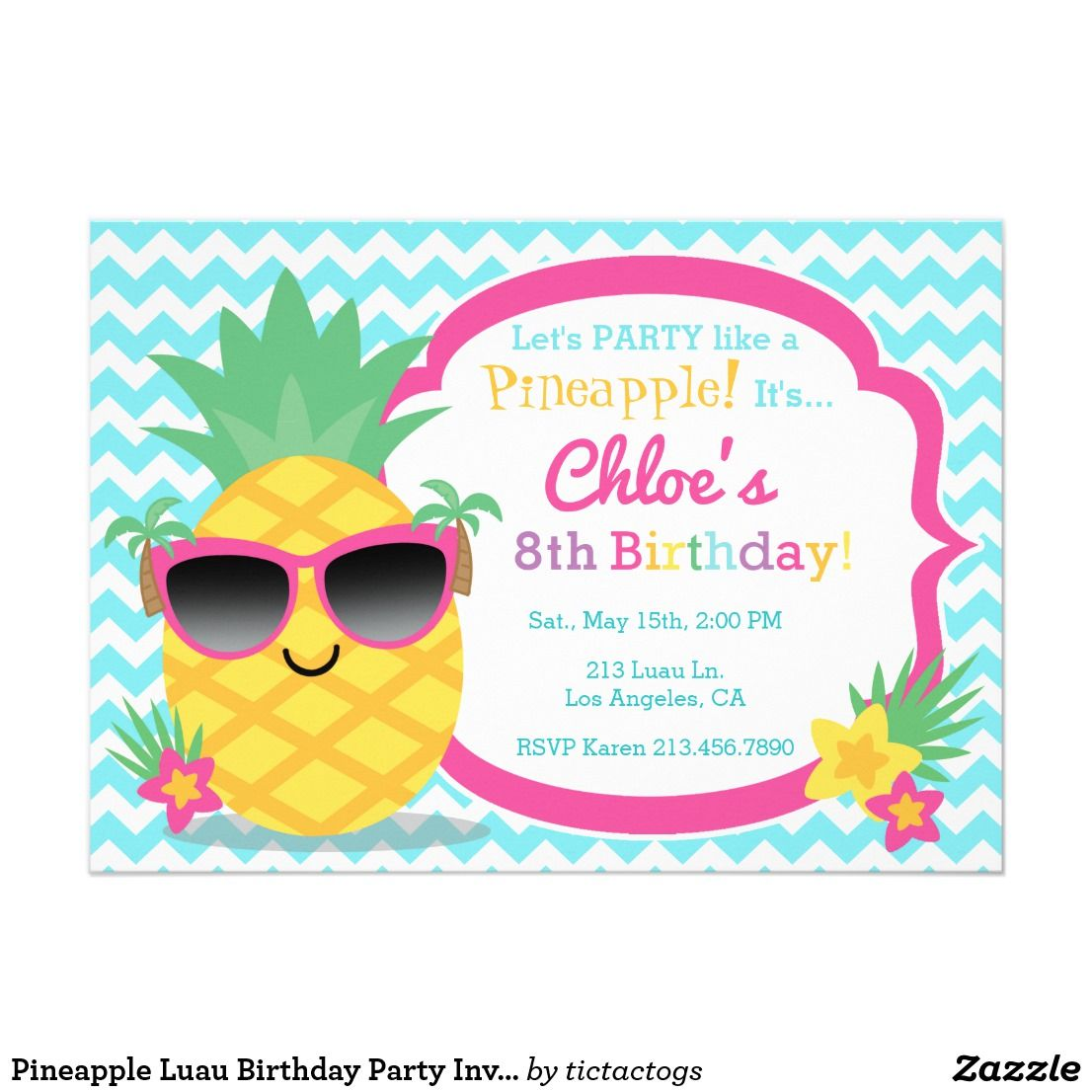 Pineapple luau birthday party invitation pineapple luau birthday party invitation party like a pineapple with this adorable birthday invitation features stopboris Choice Image