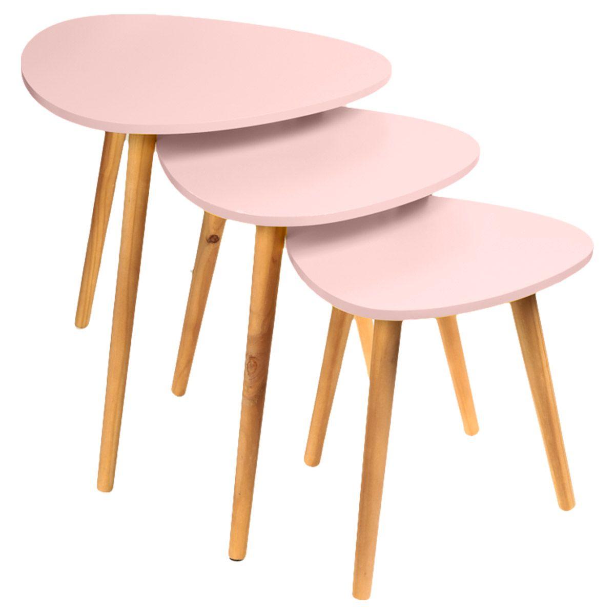 3 Tables Basses Roses Semi Gigognes Hauteurs 36 5 42 5 Et 48 Cm Table Basse Table Et Chaises Mobilier De Salon