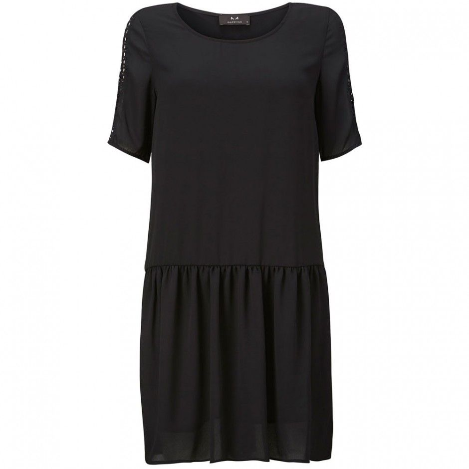 WANDERING MINDS -  RELAXED BLACK DRESS WITH EYELET INSERTS