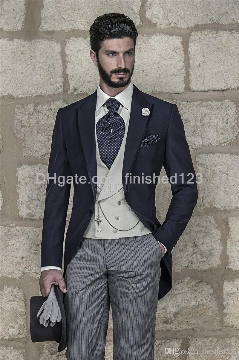 Morning Style Navy Blue Groom Tuxedos Peak Lapel Groomsmen Best Man Mens Wedding Suits Jacket