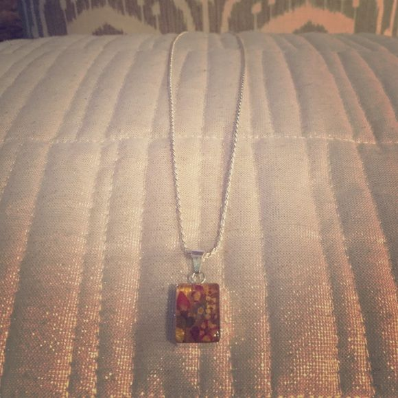"NWT, Long silver dried flower rectangle pendant Long silver necklace w pendant including dried flowers. Beautiful with ""antiquey""/aged/vintage look. Jewelry Necklaces"