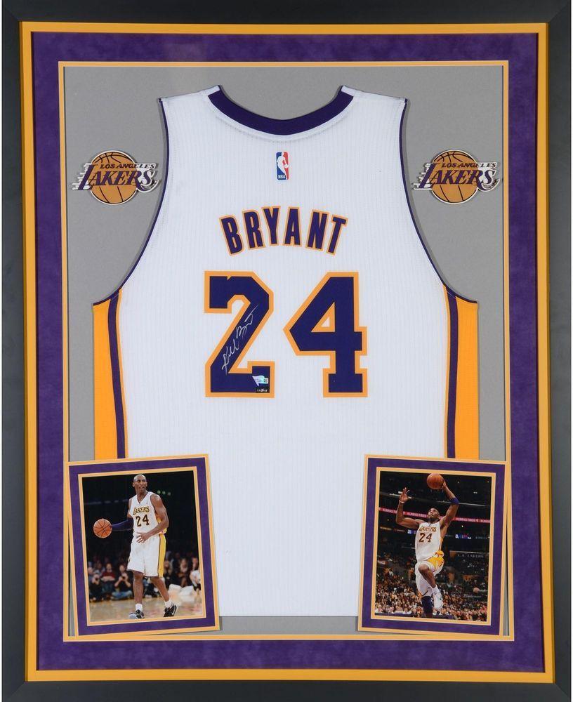 ca07b89d280 Kobe Bryant Lakers Dlx Framed Autographed White Adidas Swingman Jersey -  Panini