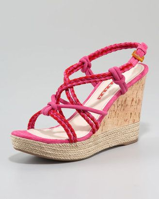 364c02289 ShopStyle: Prada Suede Bicolor Espadrille Wedge Sandal | Pink~a ...
