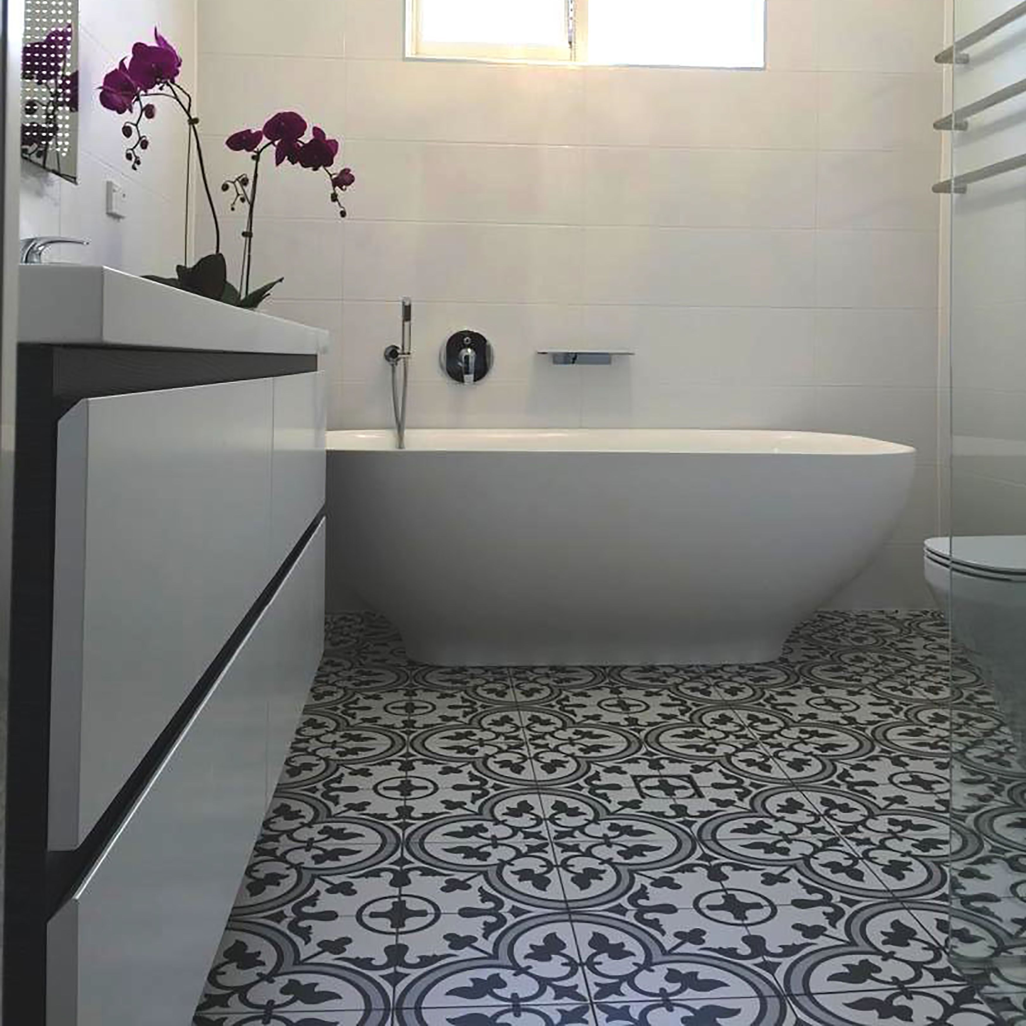 The Somertile 9 5x9 5 Inch Art Grey Porcelain Floor and Wall Tile
