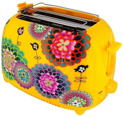 grille-pain, toaster jaune avec fleurs de dahlia by pylones ...