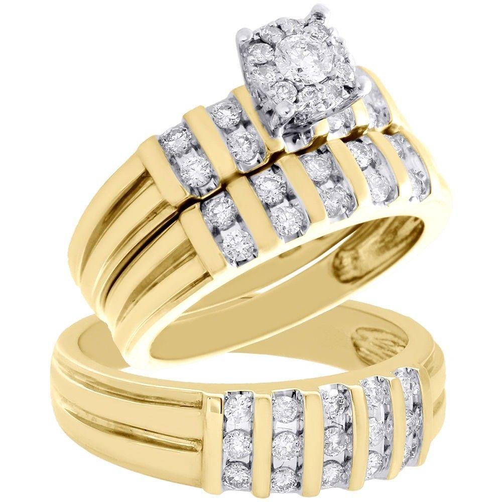1 28 Carat Diamond Trio Engagement Wedding Channel Ring Set 14k Yellow Gold Over 14k Yellow Gold Engagement Ring Bridal Ring Sets Yellow Engagement Rings