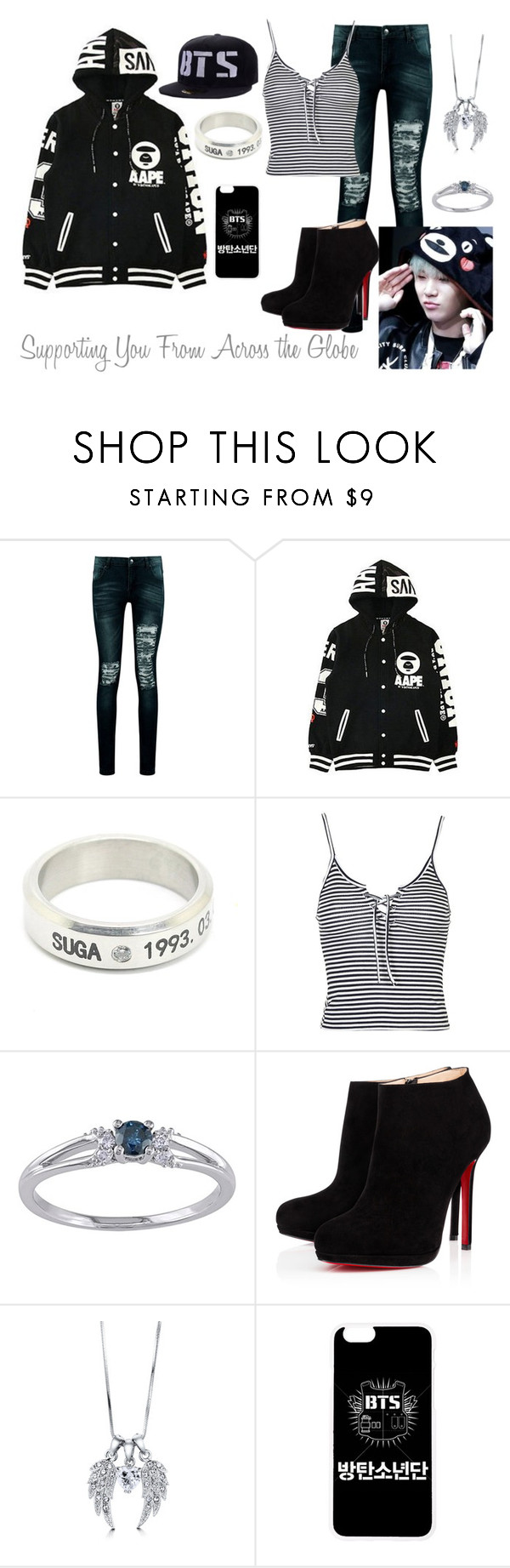 """So Far Away (Min Yoongi Story Outfit #1)"" by lola-twfanmily ❤ liked on Polyvore featuring Boohoo, Topshop, Christian Louboutin and BERRICLE"