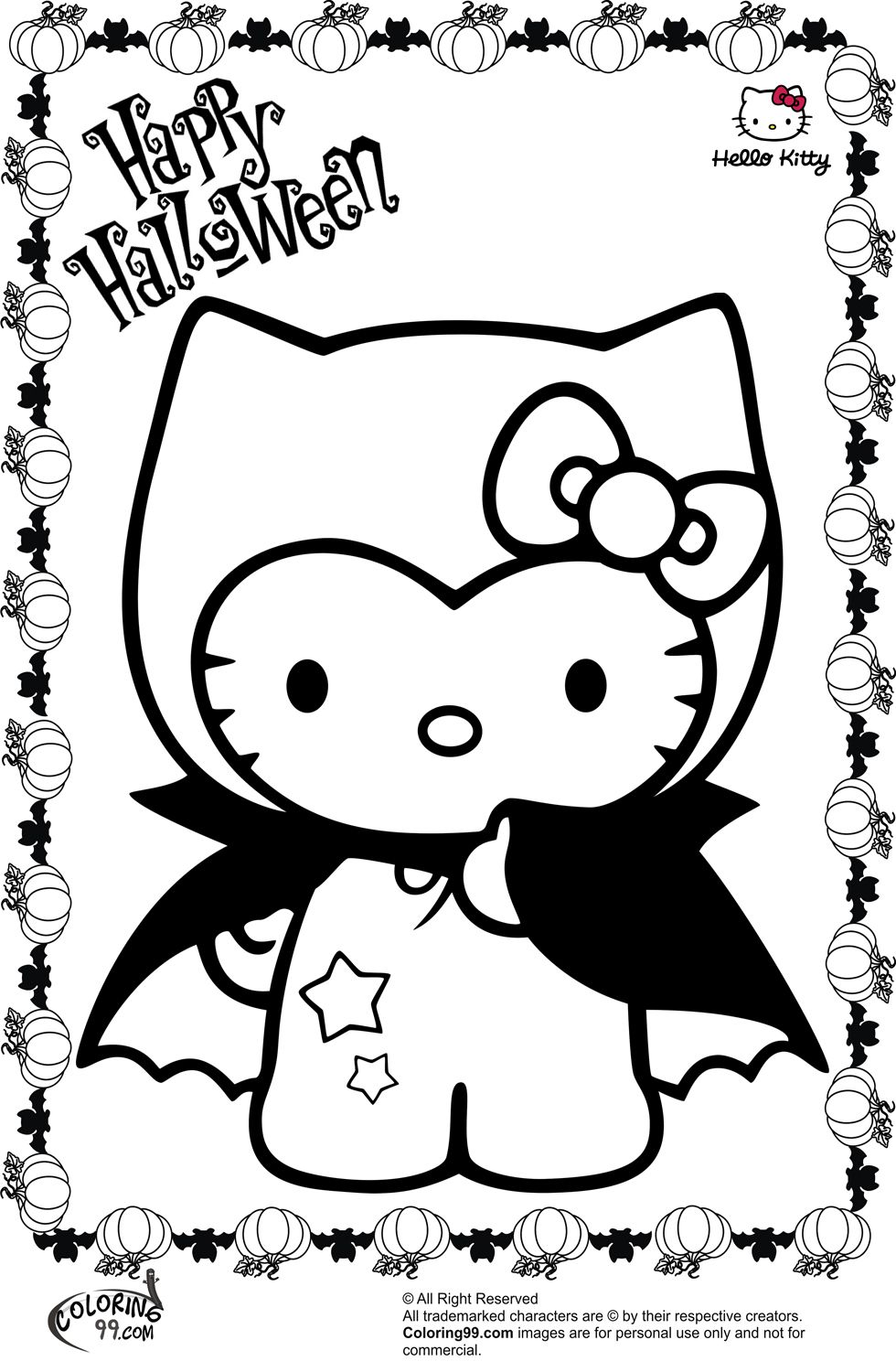 Hello Kitty Zombie Coloring Pages : Hello kitty vampire halloween coloring pages color