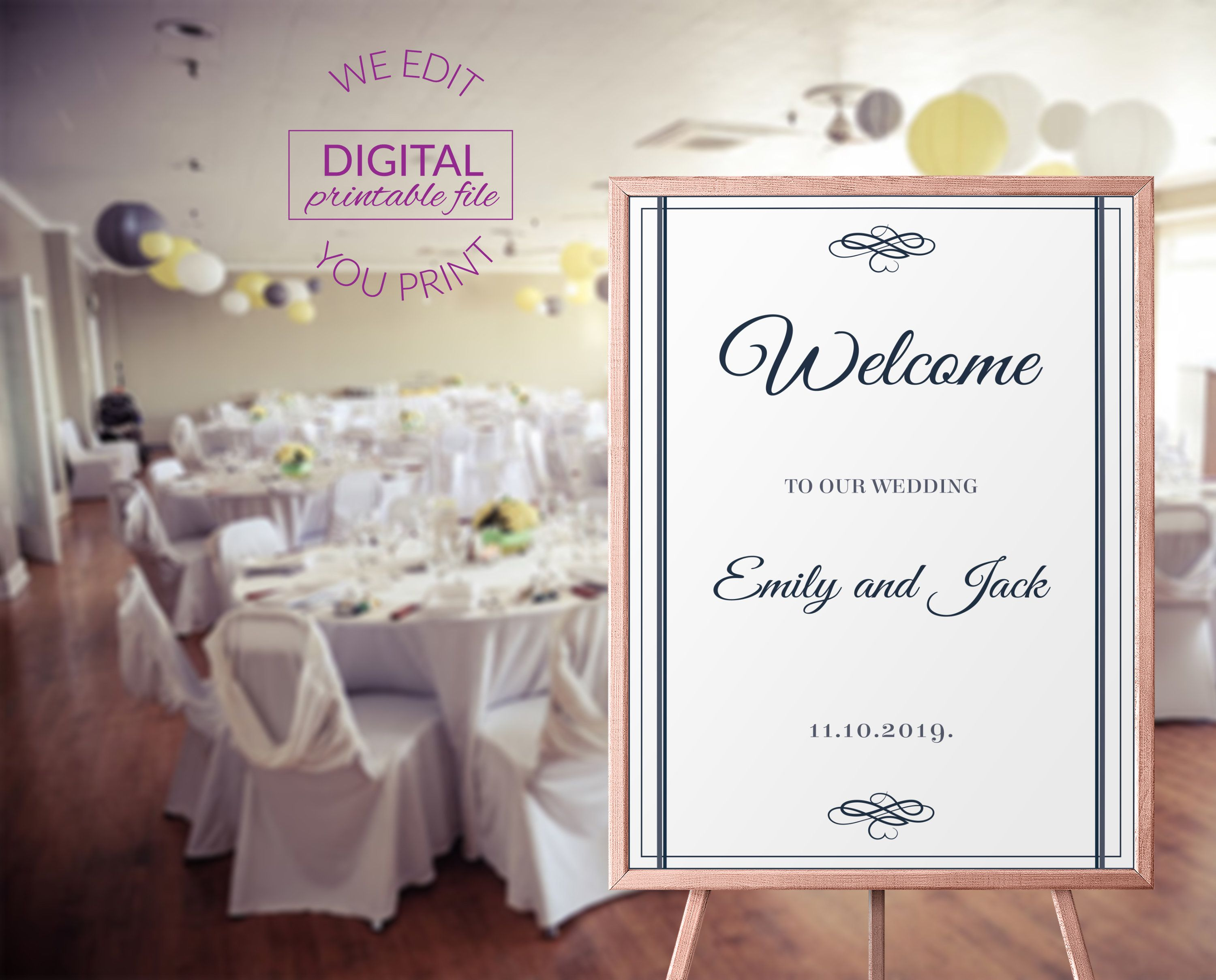 Elegant Welcome Wedding Sign Simple Welcome Sign Printable Elegant Wedding Sign Printable Simple Welcome Wedding Sign PDF ED-W6