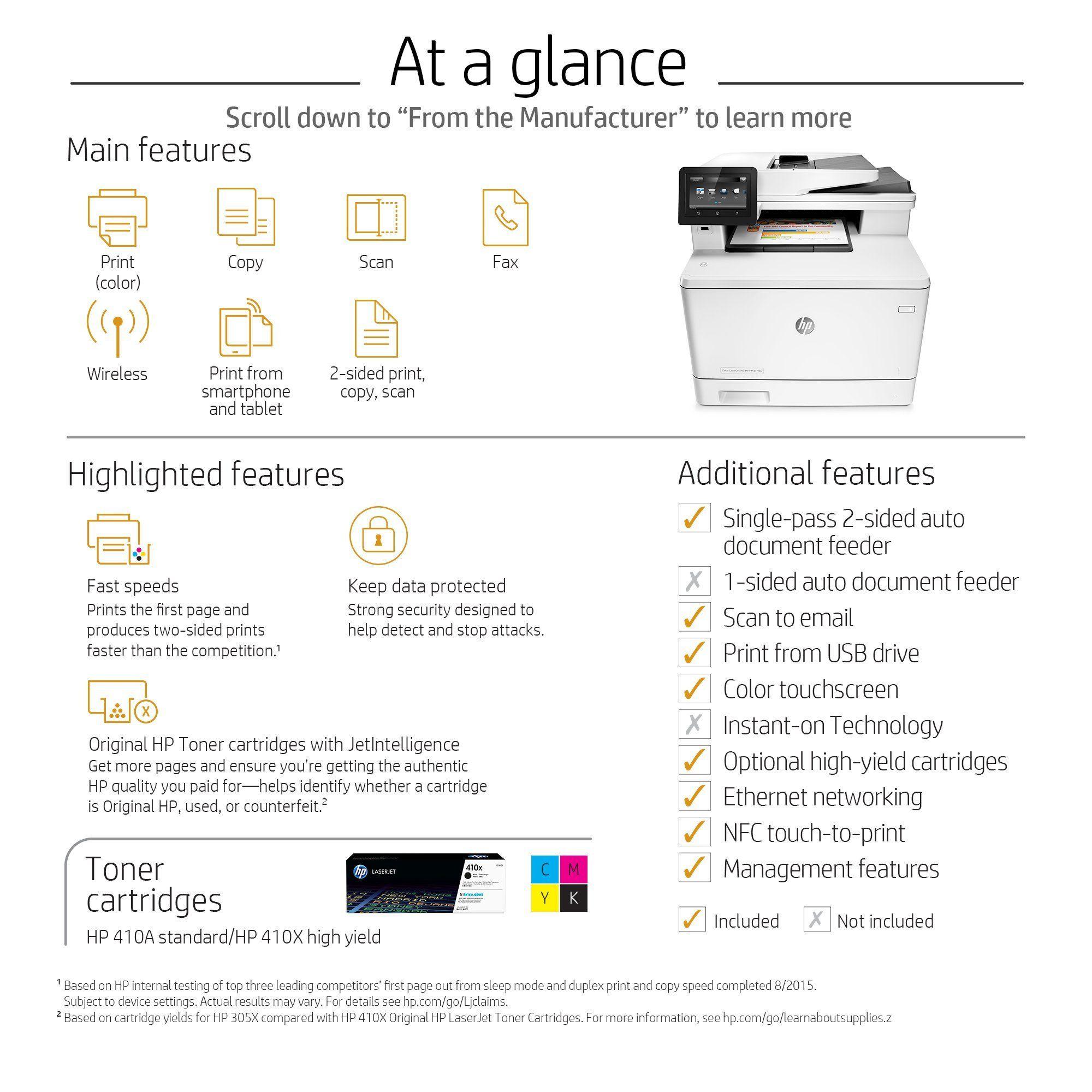 Hp Laserjet Pro M477fdw Multifunction Wireless Color Laser Printer With Duplex Printing Cf379a Certified Refurbished Click On Laser Printer Printer Wireless