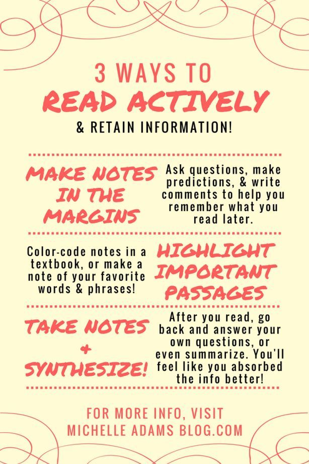 How To Read Actively And Remember What You Ve Read Michelleadamsblog Blogger Study Tips College College Survival Guide Writing