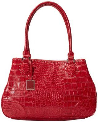 Red Snake Print Leather Handbag Nine West