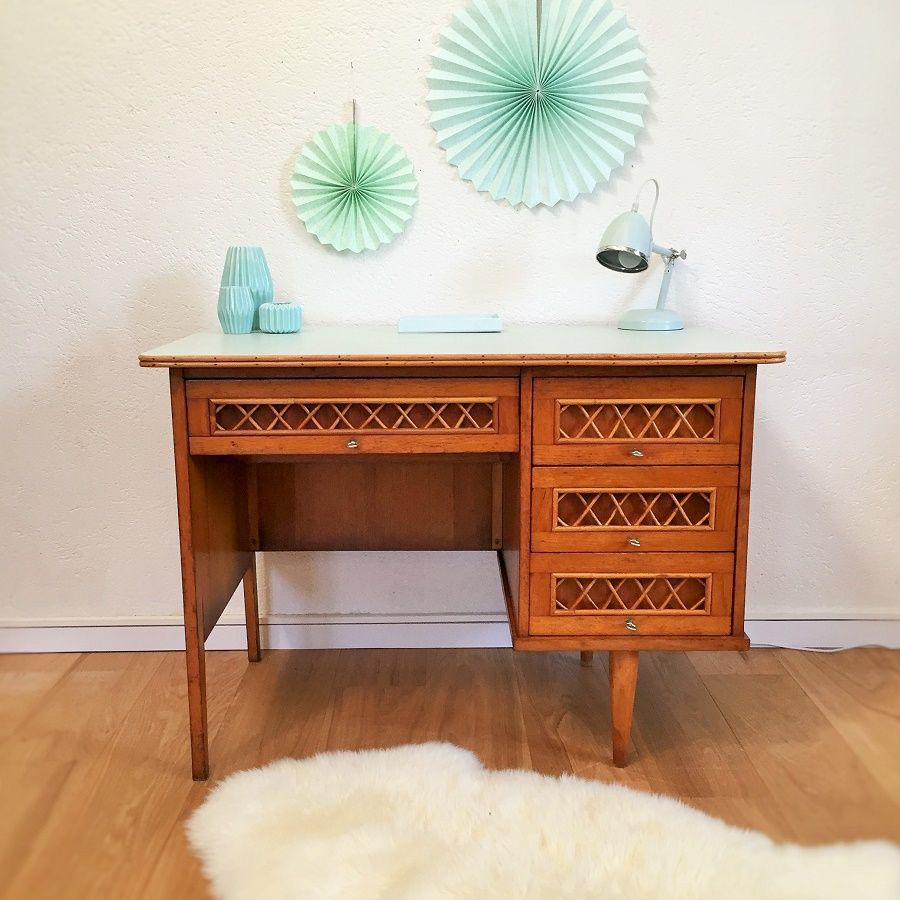 bureau vintage en chene et rotin rnov Furniture Pinterest