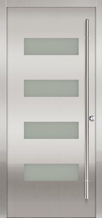 stainless modern exterior door by milano doors - Modern Exterior Metal Doors