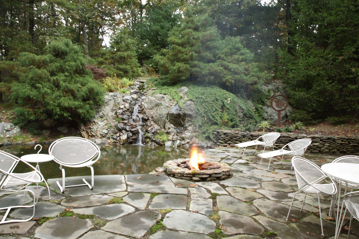 Patio, Waterfall, Koi Pond, Fire Pit