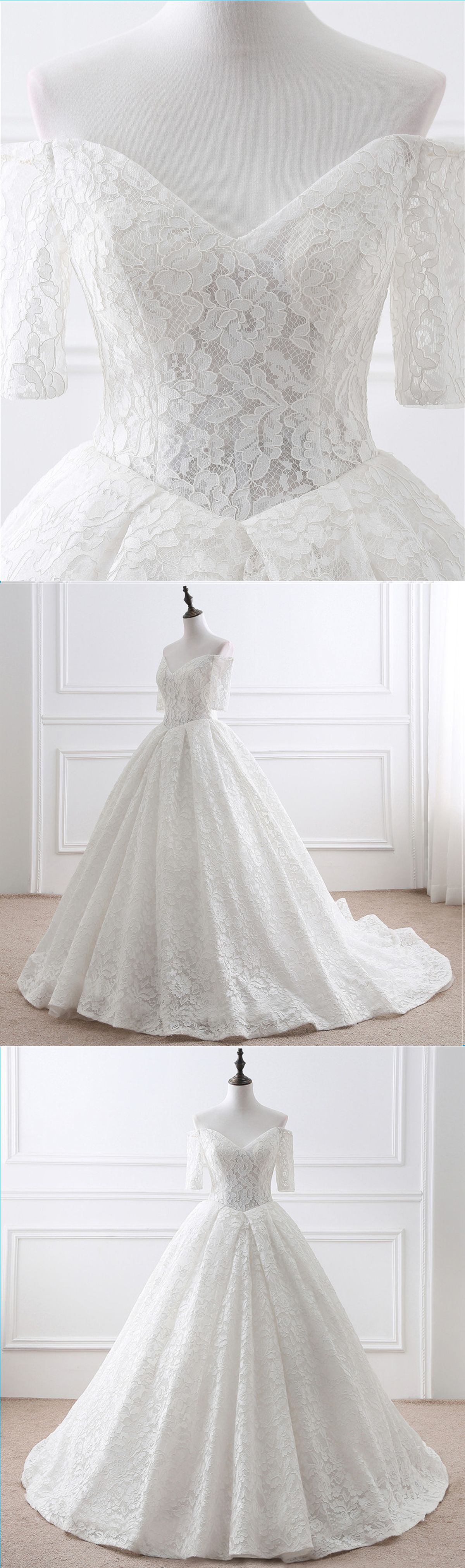 Gorgeous white lace mid sleeve off shoulder long customize wedding