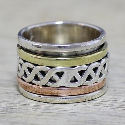 NOVICA Damen Sterling Silber Spinner Meditation Ring