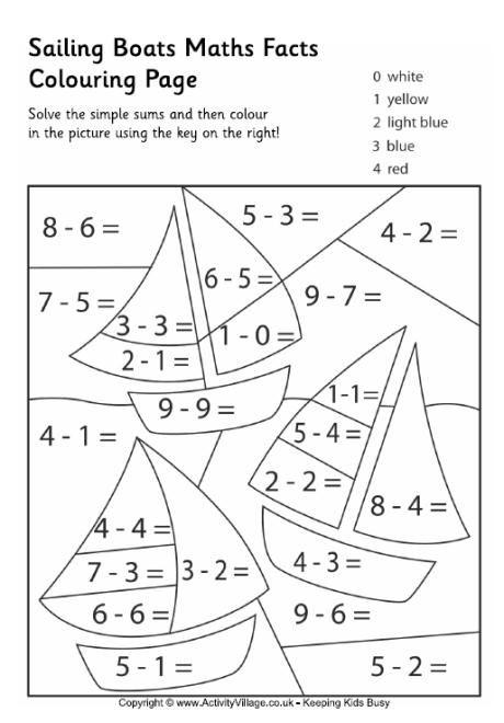 Colorbynumber 1st Grade Worksheet Sailing boats maths