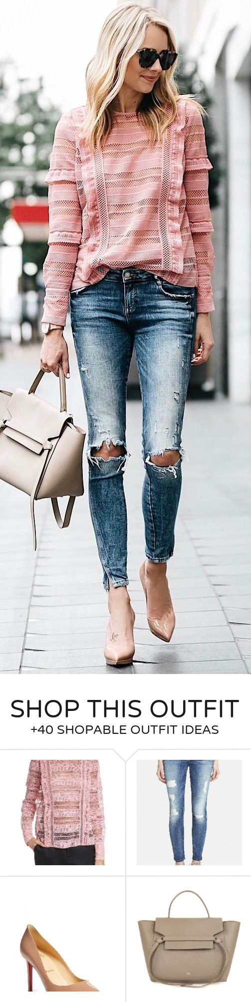 Summer outfits pink ruffle top destroyed skinny jeans nude pumps