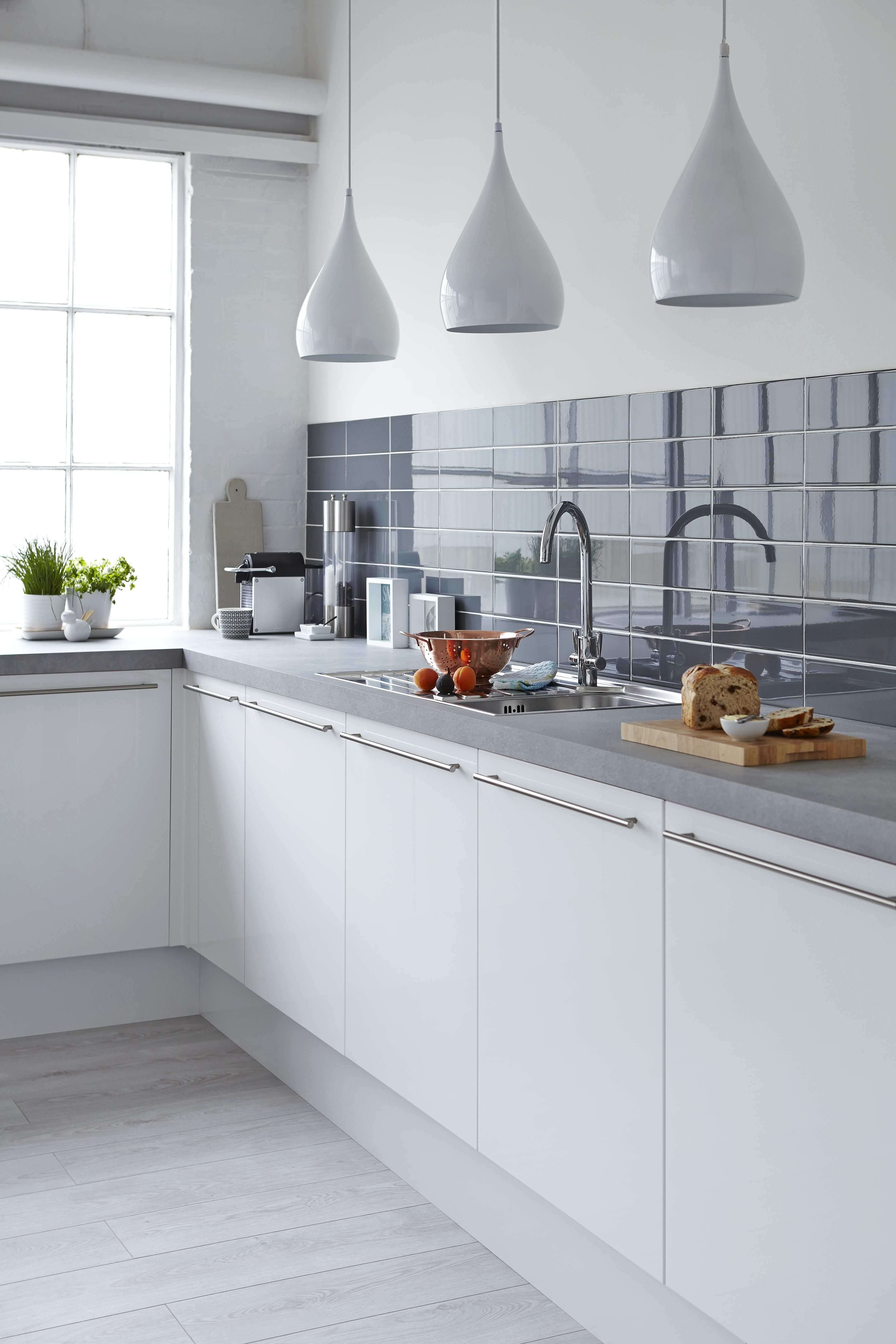 Add contrast to your white kitchen with muted tones and ceramic wall ...