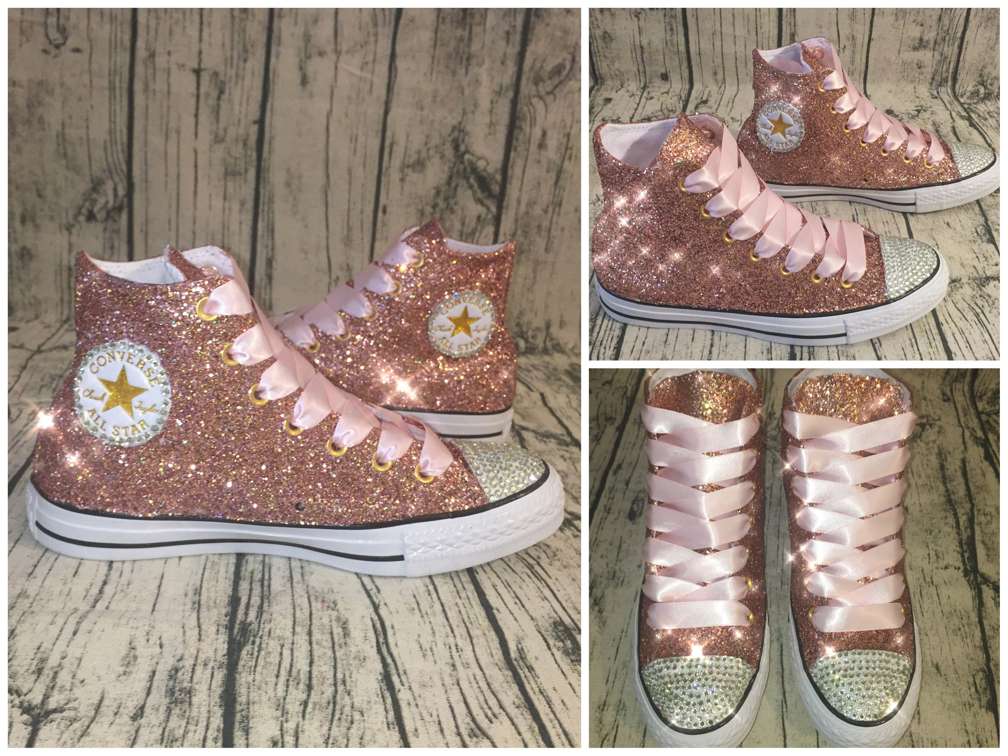 5a5c44fd56 www.glittershoeco.com Sparkly Rose Gold Converse All Star High Tops! We can  Create your own pair in any color!