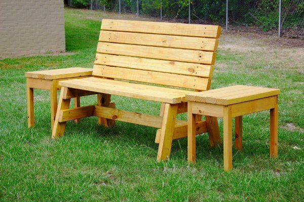 How To Build A Comfortable 2 4 Bench And Side Table With Images