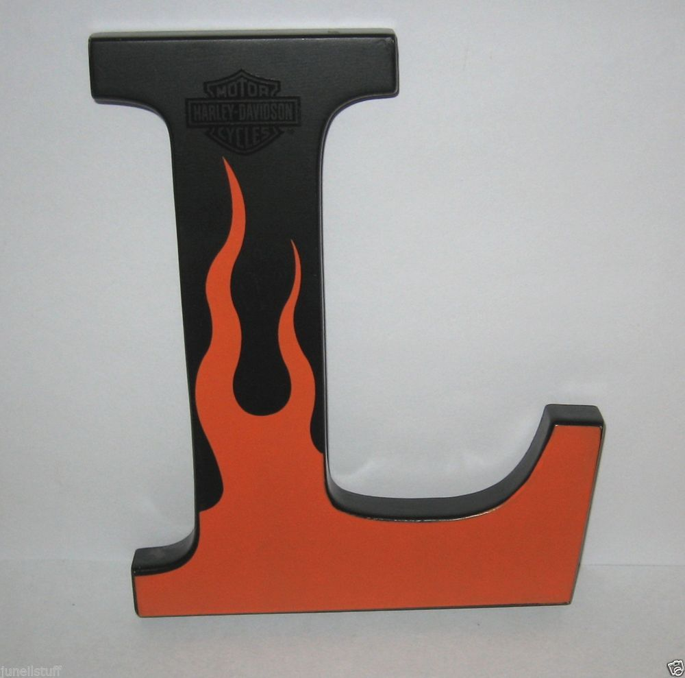 "Letter L Wall Decor Harley Davidson Motorcycles Black & Orange Flames 7 34"" Letter L"