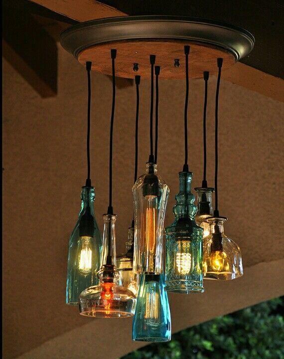 Good idea lamp lamp pinterest tiny houses lights and house the glendora recycled bottle light chandelier by moonshinelamp aloadofball Gallery