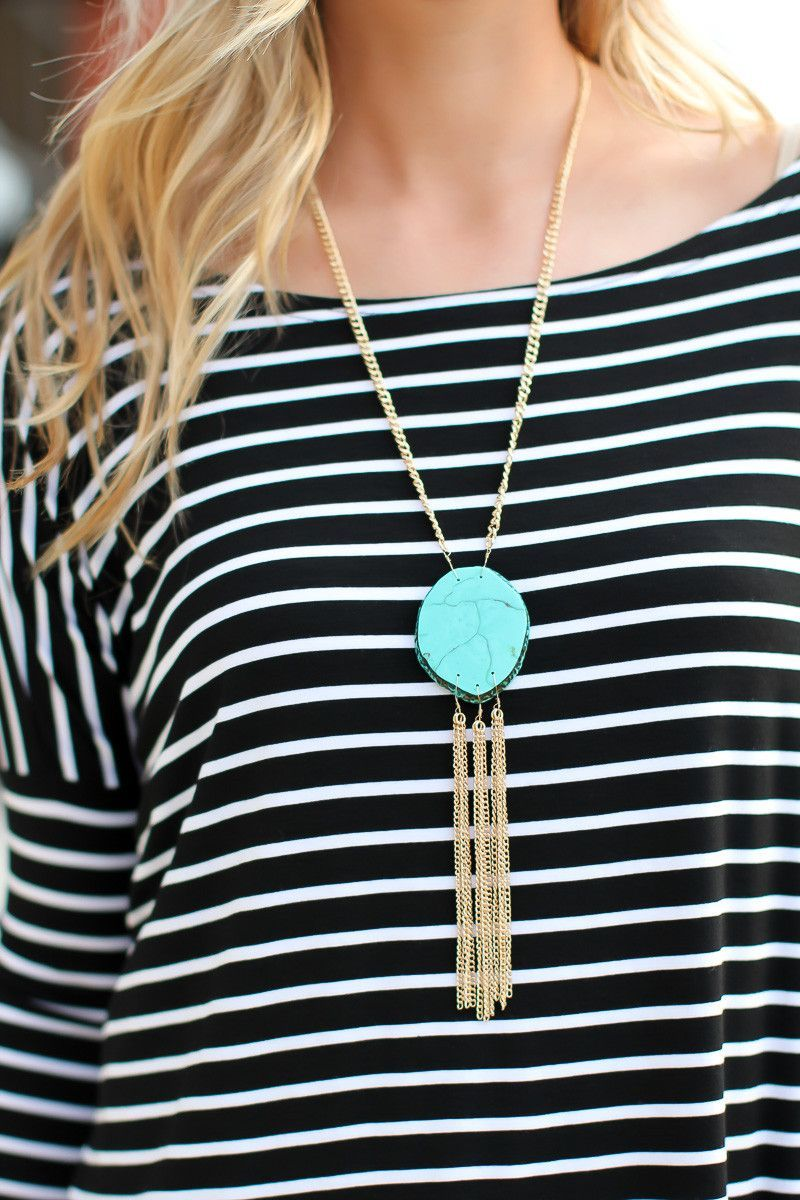 Turning Heads Tassel Necklace - Turquoise