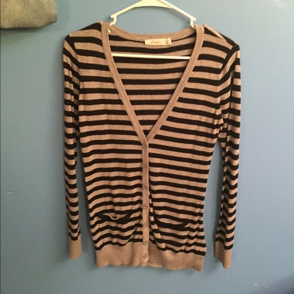 Striped button up sweater Black and grey Striped button up sweater. Has all the buttons and none are loose! Perfect for layering and cute for fall! Forever 21 Sweaters Cardigans
