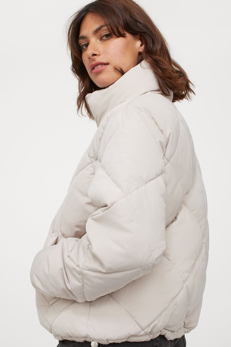 Boxy Puffer Jacket Light Greige Ladies H M Gb Puffer Jacket Women Puffer Jackets Quilted Jacket [ 1152 x 768 Pixel ]