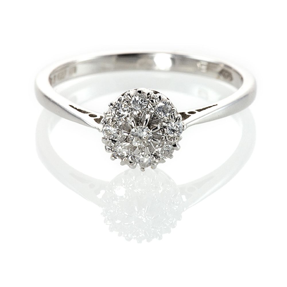 Cluster Bands: Diamond Cluster Engagement Ring 9