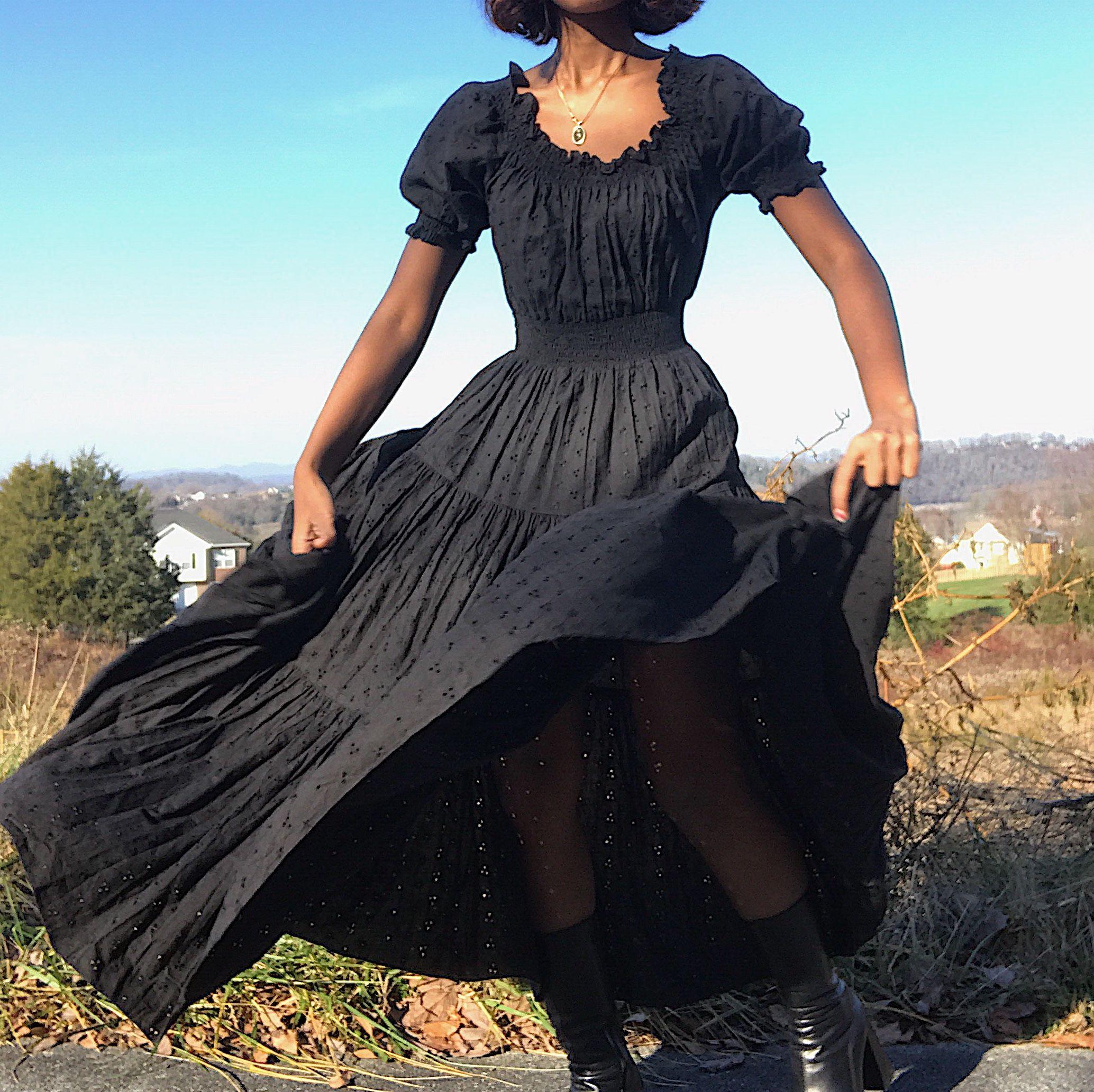 Amazing vintage 70s Western goth dress by Sherry..