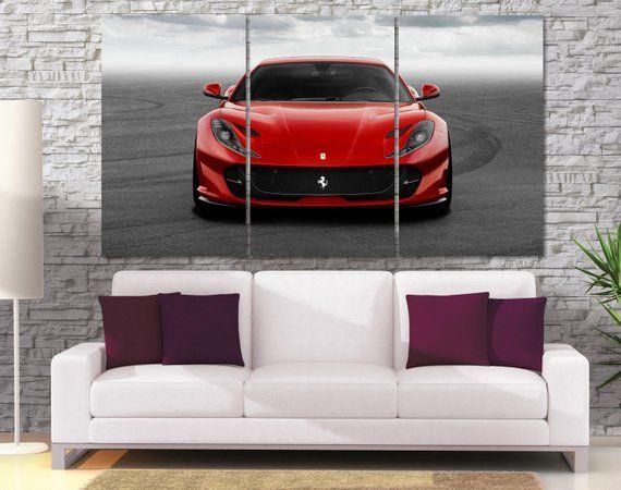 Ferrari Canvas Print Large Ferrari Poster Red Car Canvas Etsy Cars Canvas Wall Art Garage Color Ideas Car Wall Art
